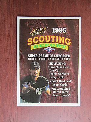 RARE 1995 Action Packed Scouting Report Derek Jeter Advertising Card. MINT!
