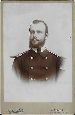 PORTRAIT OF A HANDSOME UNIFORMED FRENCH SOLDIER (CABINET CARD)