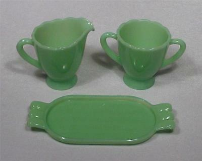 Jadeite Green Glass Sugar and Creamer Set with Tray