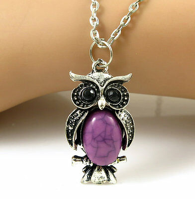 1pcs Lovely Gift Retro owl bird rhinestone crystal necklace Gift with chain P112