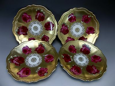 4 Antique O&EG Royal Austria Rose Duberry Hand Painted Red Roses Sm Plate Gilded