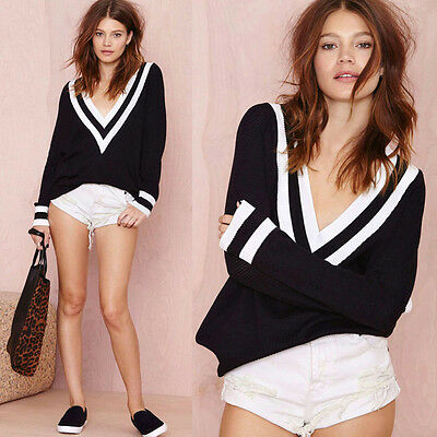 Sexy Vintage Women Loose Deep V Neck Navy Style Knit Tops Sweaters Jumpers S-M
