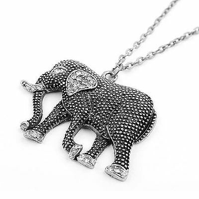 1 Pc New Fashion Clear Crystal Tibetan Silver Black Elephant Chain Necklace 27''