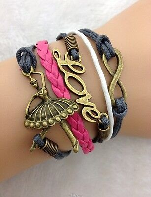NEW Hot Retro Infinity Ballet girl LOVE Leather Charm Bracelet plated Copper
