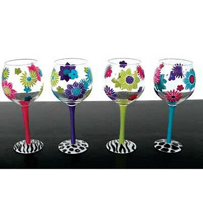 Hand-painted Floral Wine Glasses in Turquoise, Purple, Lime Green &  Hot Pink.