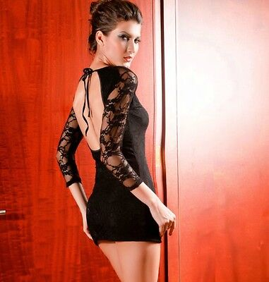 SEXY WOMENS EXOTIC MINI DRESS BLACK TIGHT LACE SLEEVES OPEN BACK DANCER BODYCON