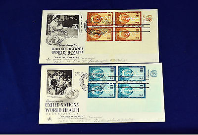 2 United Nations World Health 1956 Covers postage stamps  # 43- 44     lot # 2