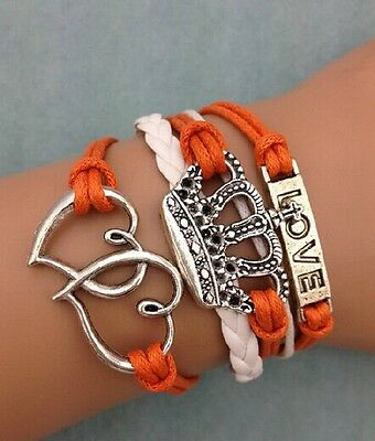 NEW Infinity Imperial crown Love Heart Friendship Leather Charm Bracelet Silver