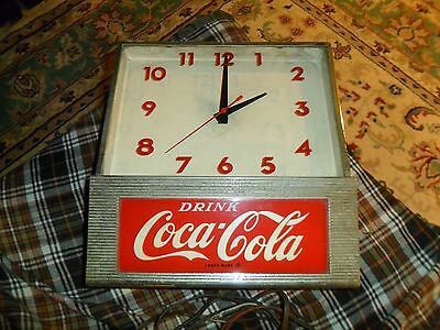 Vintage 50's COCA COLA Soda Advertisement CLOCK SIGN LIGHT Works Needs Bulb