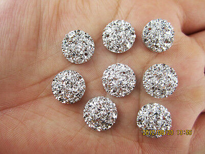 DIY NEW 30Pcs 12mm Silver Mini Faceted Flatback Resin Round Buttons Craft 003