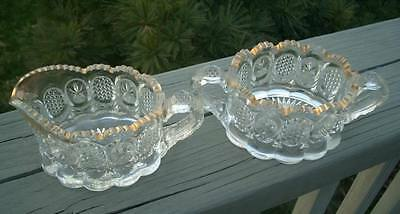 ANTIQUE EAPG THE STATE GLASS CRYSTAL SUGAR BOWL CREAMER
