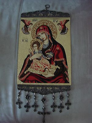 18'' Huge Woven Wall Hanging Tapestry Madonna & Child Icon Crucifix Cross