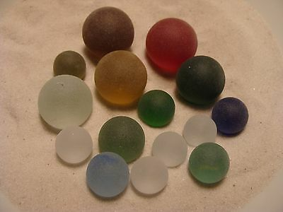 15 vintage SEA GLASS MARBLES FROSTY STYLE clearies w shooters old toy display