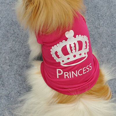 Cute Pet Dog Crown Princess T-Shirt Clothes Vest Summer Coat Costumes Outfit M