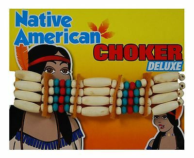 Deluxe Unisex Native Red Indian Choker Necklace Fancy Dress Costume Accessory
