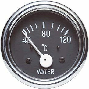 Electric Water Temperature Gauge 52mm 40-120deg Span with a Black Dial (270858)