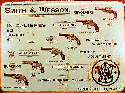 Metal Vintage Retro Smith & Wesson Tin Sign Wall Plaque / Fridge Magnet