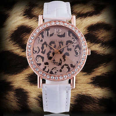 Leopard Face White PU Leather Quartz Women Lady Girl Wrist Watch Analog KTA