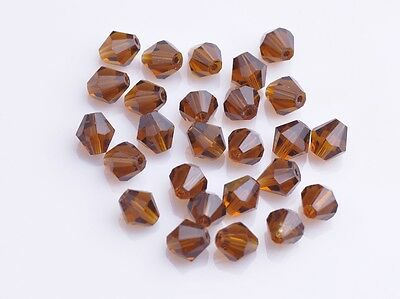 200pcs Faceted Findings Glass Crystal Charms Loose Bicone Spacer Beads 4mm Topaz
