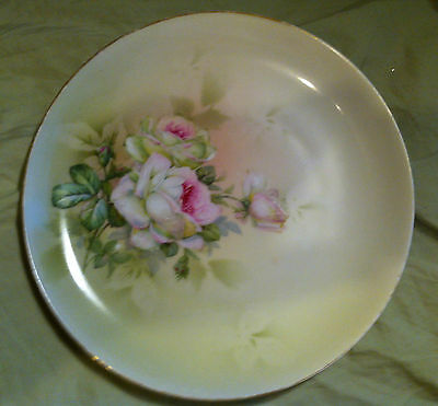 VINTAGE KPM GERMANY - HANDPAINTED CABINET PLATE - WHITE ROSES W/GOLD - *NICE*