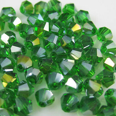 Free Shipping 100pcs 4mm Glass Crystal #5301 Bicone beads Grass Green AB colors