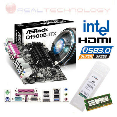 Scheda Madre Asrock Q1900B-ITX HDMI USB 3.0+Processore intel Quad Core+RAM 4 GB