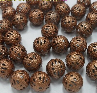 Free Ship 200pcs Copper color Hollow metal  ball beads Jewelry Findings 4mm H121