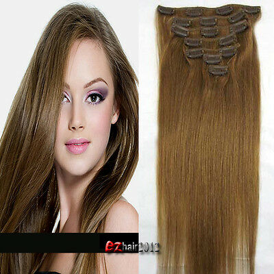 """Hot Women's Real Remy Clip In Human Hair Extensions 15"""" 70g 7pcs #12 Light Brown"""