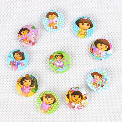 10pcs Dora the Explorer Buttons Pins Badges Brooch Kids's Birthday Party Gift