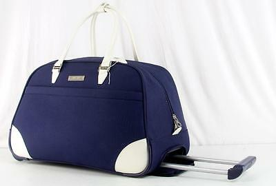 "NINE WEST RENDEZVOUS LUGGAGE 20"" NAVY BLUE WHEELED CARRY ON DUFFLE BAG 8136"