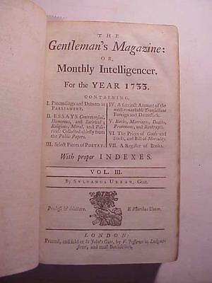 1733 GENTLEMAN'S MAGAZINE FOR THE YEAR 1733 COMPLETE +++