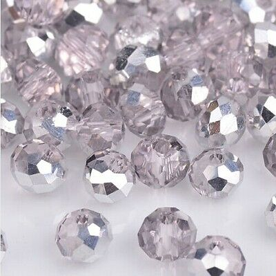 NEW Jewelry Faceted 100 pcs Silver Pink #5040 3x4mm Roundelle Crystal Beads
