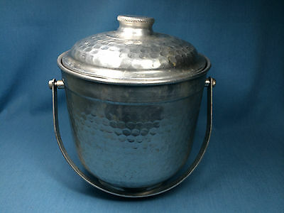 Vintage Hammered Aluminum Ice Bucket with Lid From Nasco, Italy