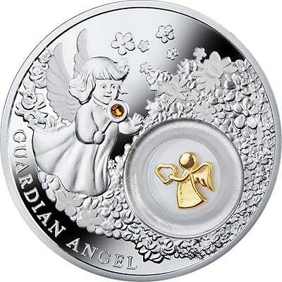 Niue 2014 $2 Guardian Angel 28.28g Silver Proof Coin with Swarovksi Stone & Box