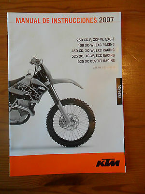 ^ KTM Owner's Manual 2007, 250/400/450/525 XC/XC-F/EXC-F/XC-W/EXC Racing SPANISH