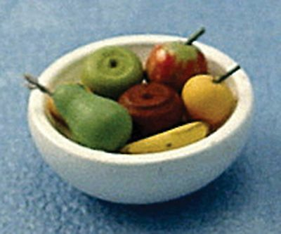 Dolls House Miniature 1/12th Scale White Ceramic Bowl of Fruit