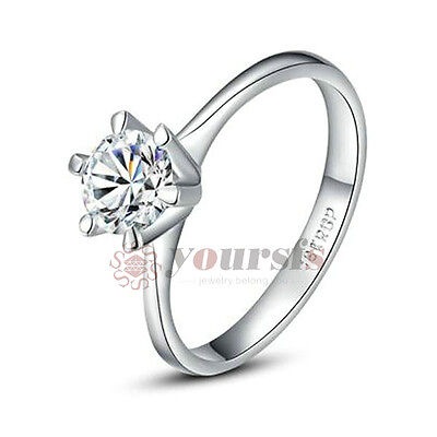 Unique 18K White Gold Plated 1ct Simulated Diamond Wedding Ring Size 8