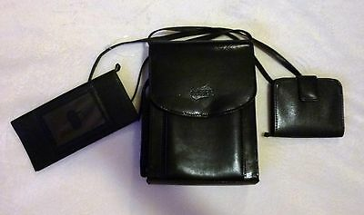 3 pc American Tourister Purse Tote Handbag Black Leather Cross Body Wallet