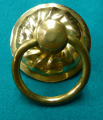 Victorian Era Round Cast Brass Ring Pull Dresser Drawer Handle Reproduction