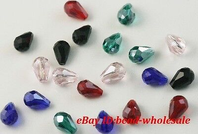 100pcs mixed crystal glass teardrop spacer beads 8mm