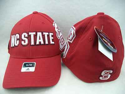 North Carolina State University NCAA Adidas Red NC State FlexFit Hat Cap S/M