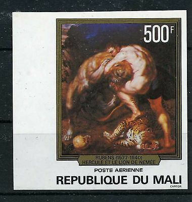 LION AND HERCULES. RUBENS. MNH IMPERFORATED PROOF OF MALI STAMP. SCOTT # C321
