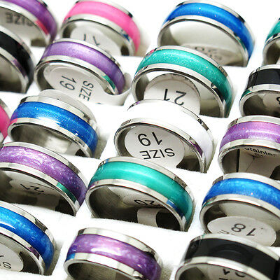 Wholesale 10Pcs Mixed Color Size Oil Drop Stainless Steel Charm Ring T8