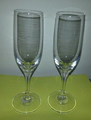 WALTHER-GLASS SET OF 2 BEAUTIFUL CRYSTAL CHAMPAGNE FLUTES GREAT FOR HOLIDAYS!!