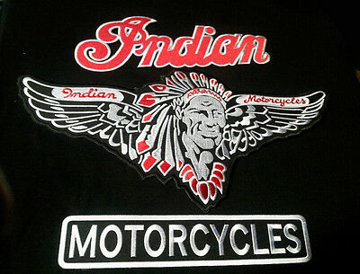INDIAN MOTORCYCLE EMROIDERED 3 PC  XXL  JACKET VEST PATCH