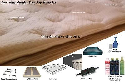 SOFTSIDE WATERBED Bamboo Euro Top Mattress & 90% Waveless for Full & Double size