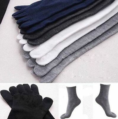 1 Pair New Cotton Absorbent Stockings Blend Soft Men's Five Fingers 5 Toe Socks