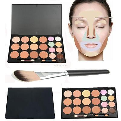 20 Colors Contour Face Cream Concealer Palette + Nylon Bristle Foundation Brush