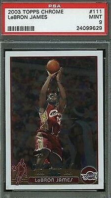 2003 Topps Chrome #111 LeBron James Cavaliers Rookie RC PSA 9 MINT CENTERED