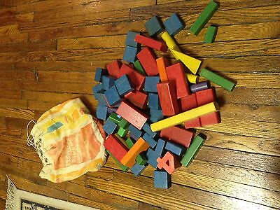 Building blocks (66) many different shapes & colors in original old bag